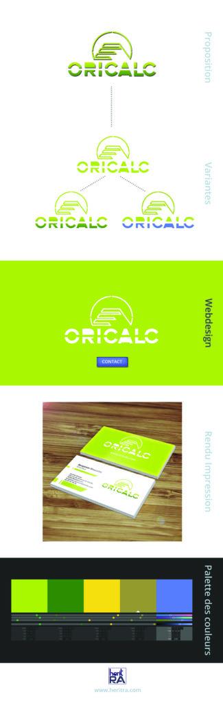 Communication globale, création d'une identité de marque complète pour l'entreprise Oricalc avec création de logo, webdesign, print, cartes de visites.