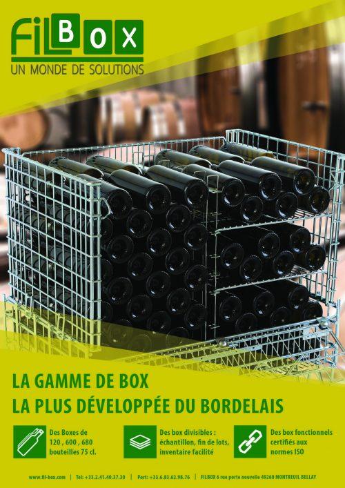 Stratégie de communication pour l'entreprise Filbox: nous avons réalisé une publicité visuellement percutante pour l'annuaire des professionnels du vin dans le Bordelais.